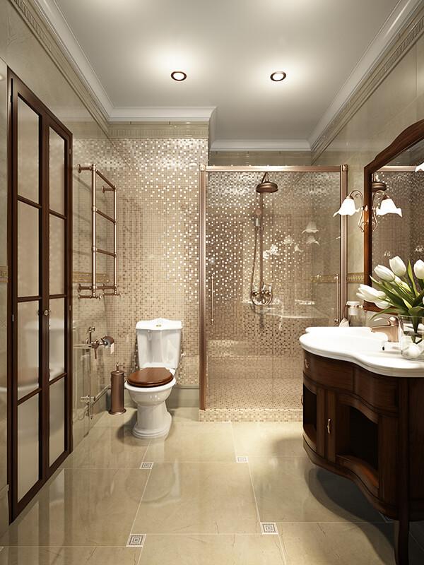 Glossy Tiles Bathroom