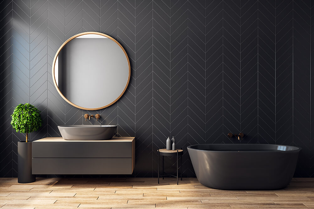 Diagonal Pattern Tiles Bathroom