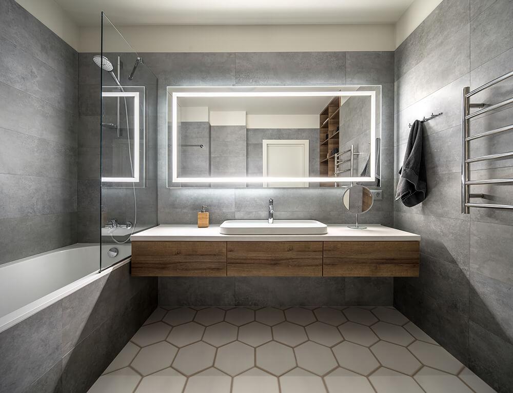 Large Slate Tiles Bathroom