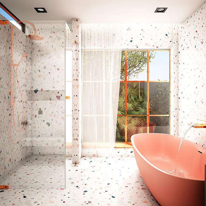 Pastel Terrazzo Tiles Bathroom