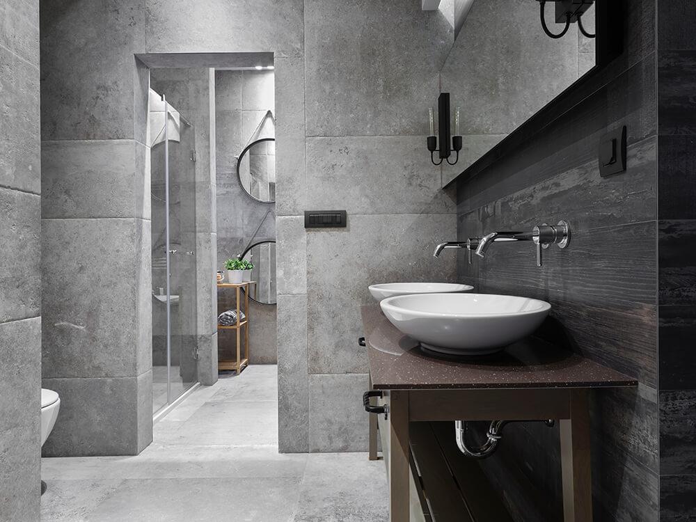 Masterpiece Bathroom With Big Tiles