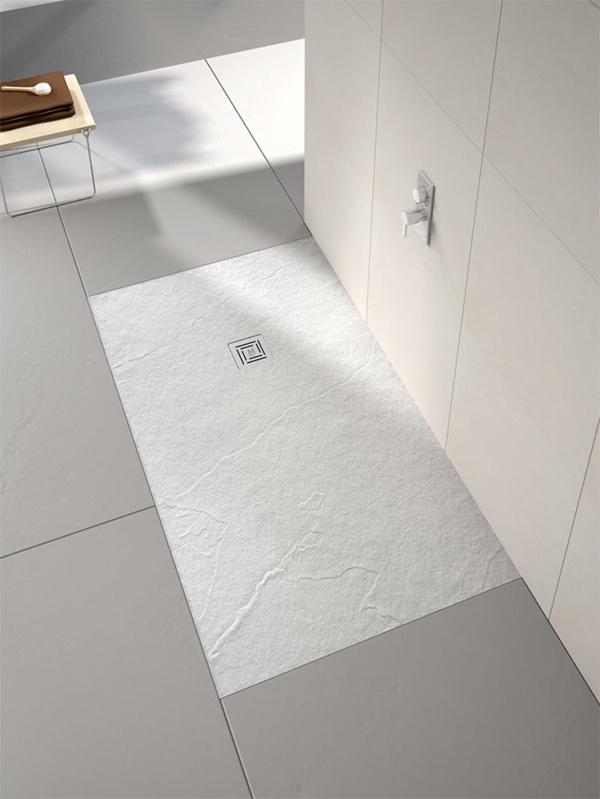 Wooden Flooring Wet room with Black Shower Tray