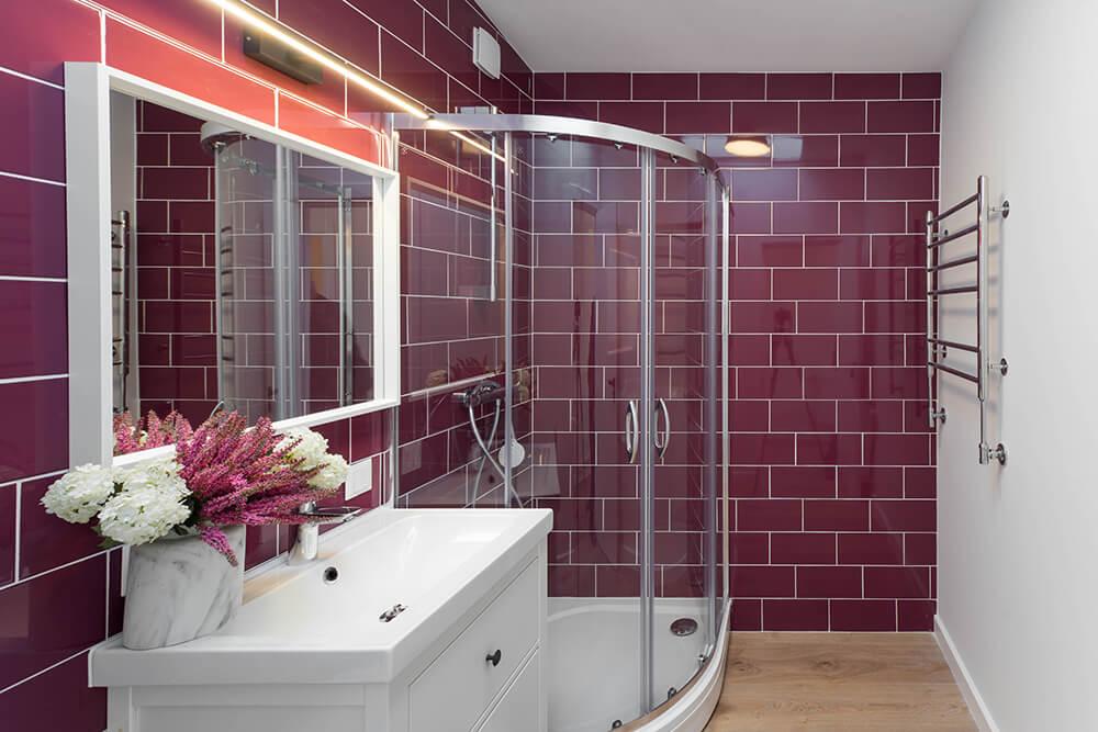 Colored & Plain Tiles Bathroom