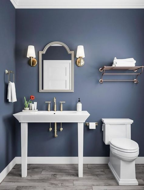 Classic Blue can and white bathroom fittings