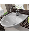 Twyford Galerie 1 Tap Hole Semi Recessed Basin 500 x 425mm small Image 4