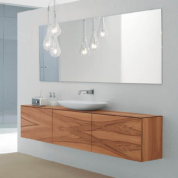 Large Horizontal Frameless Bathroom Mirror
