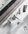 Crosswater Waldorf Chrome Lever 3 Hole Deck Mounted Basin Mixer Tap Set small Image 4