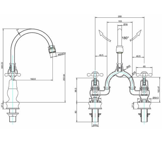 Burlington Kensington Regent 2 Tap Hole Arch Basin Mixer - 200mm Centres small Image 4