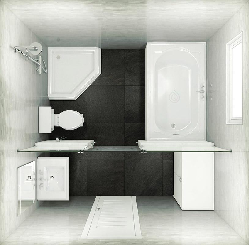 Square Medium Size Bathroom Layout