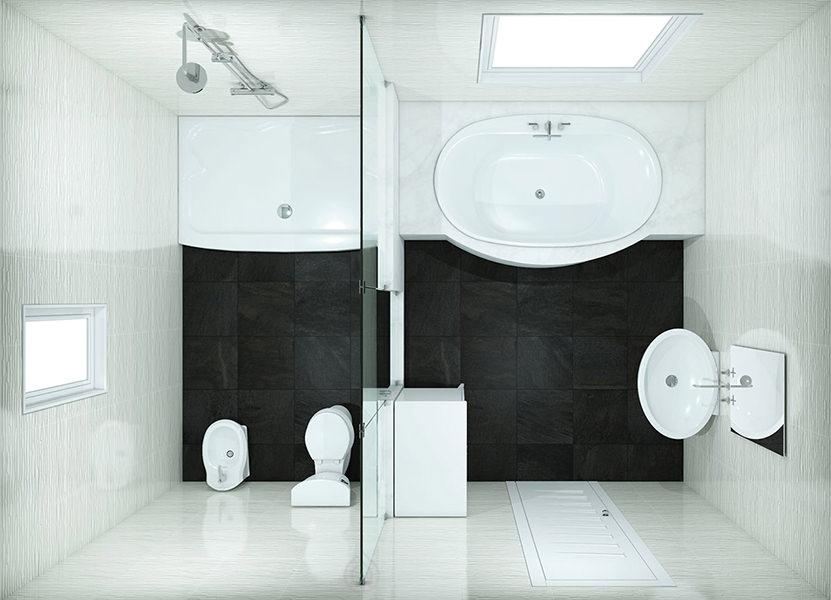 Rectangular Large Bathroom Layout