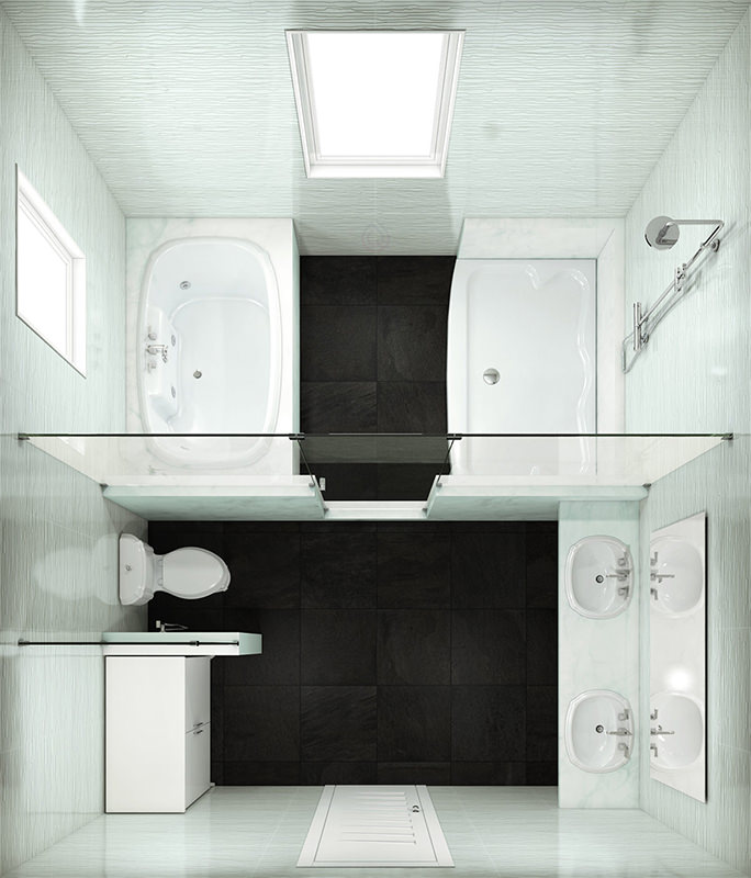 Rectangular Bathroom Layout with Bath and Walk in Shower Enclosure