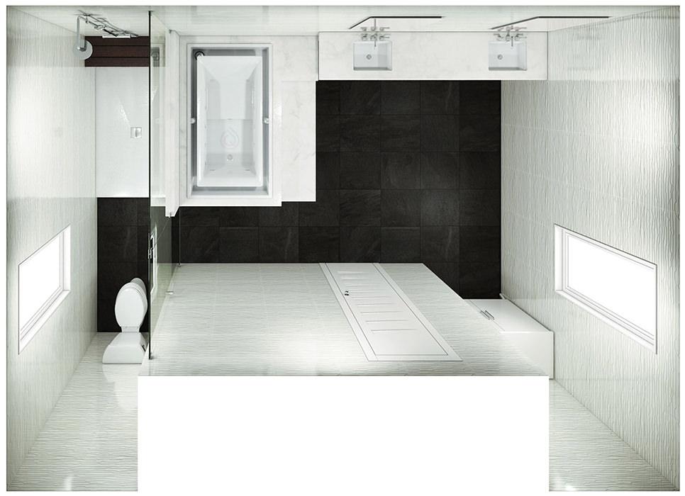 Large Bathroom Floor Plan with Enclosure Toilet bathtub and bathroom sink