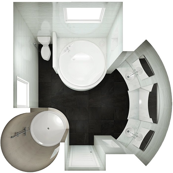 Bathroom Layout with Rounded Walls