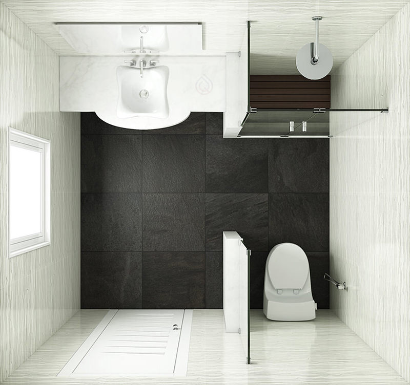 Square Bathroom Layout