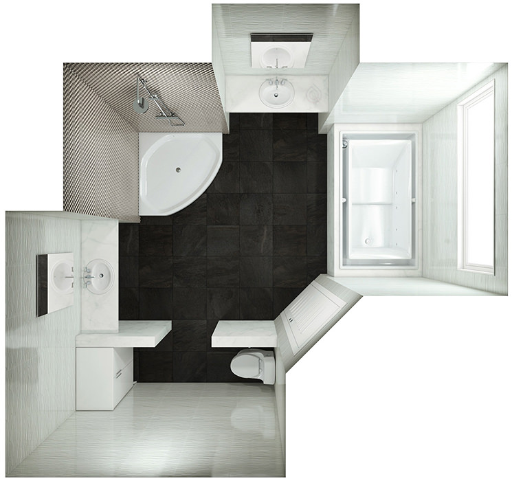 Bathroom Layout with Large Bath tub, Walk in Shower enclosure, sink and more.