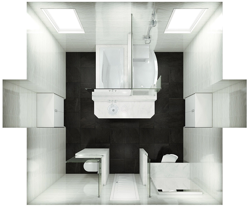 Larbe Bathroom Layout with Storage Unit and Two Bath tubs