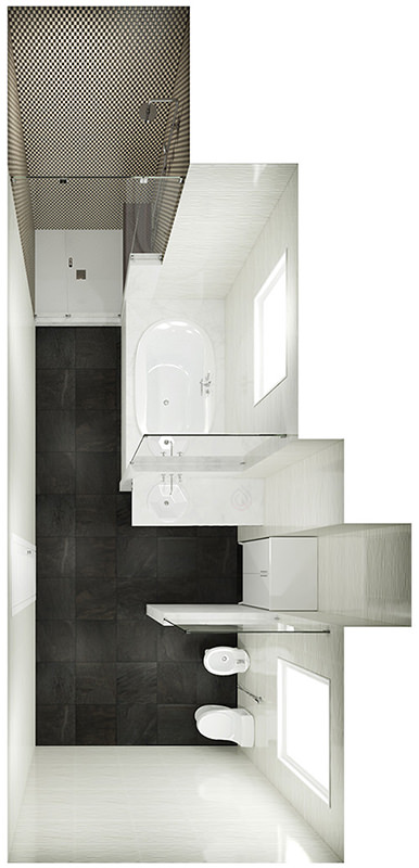Large Bathroom Layout with Shower Enclosure, Bath Tub, Toilet and Bidet.