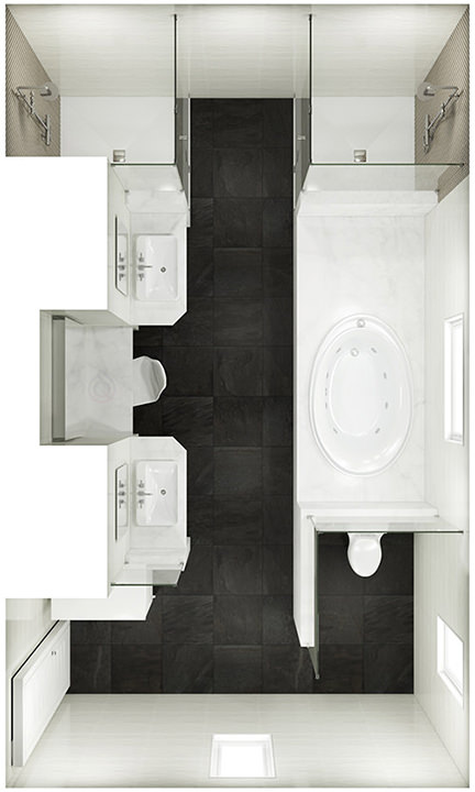 Large Rectanglular Bathroom Layout with Two Walk in Shower Enclosures, bath tubs, bathroom sink and toilet
