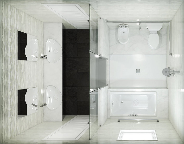 Large Bathroom Layout with Two Bathroom Sinks