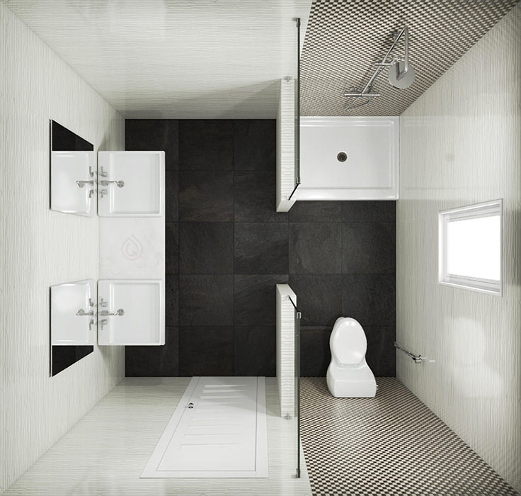 Small Bathroom Layout with Two Sinks, Toilet and Shower Enclosure