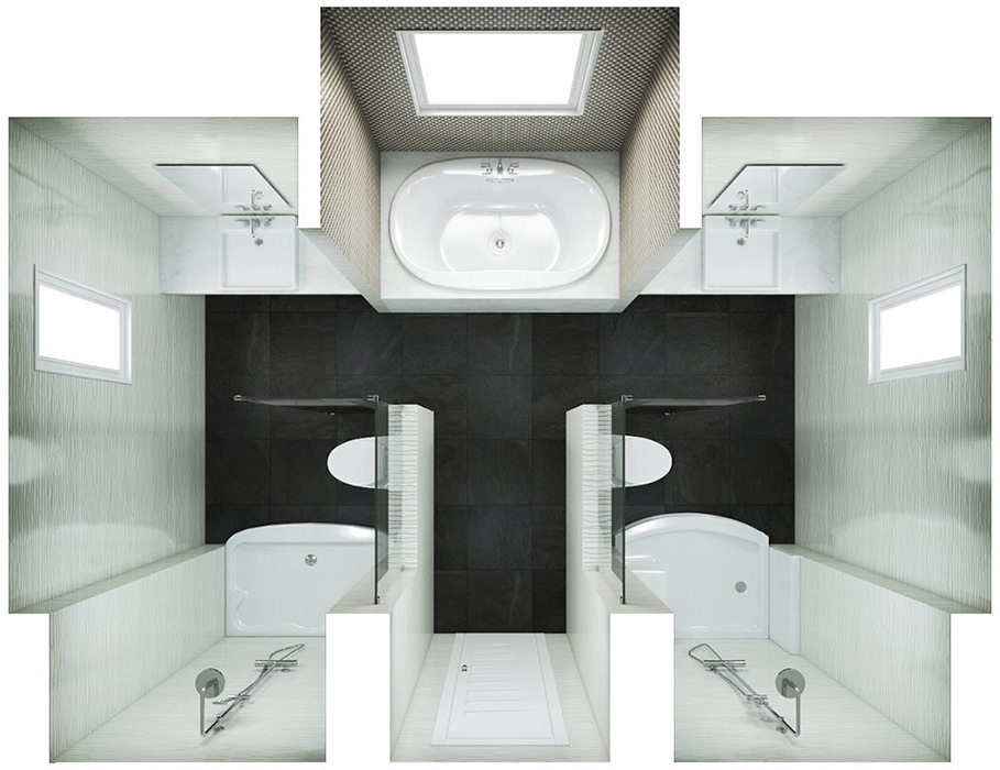 Large Bathroom Floor Plan with Two Shower Enclosures, Bath, Two Sinks and Two Toilets