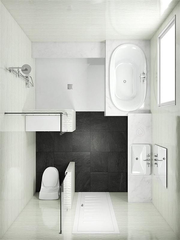 Rectangle Bathroom Layout with Shower Enclosure