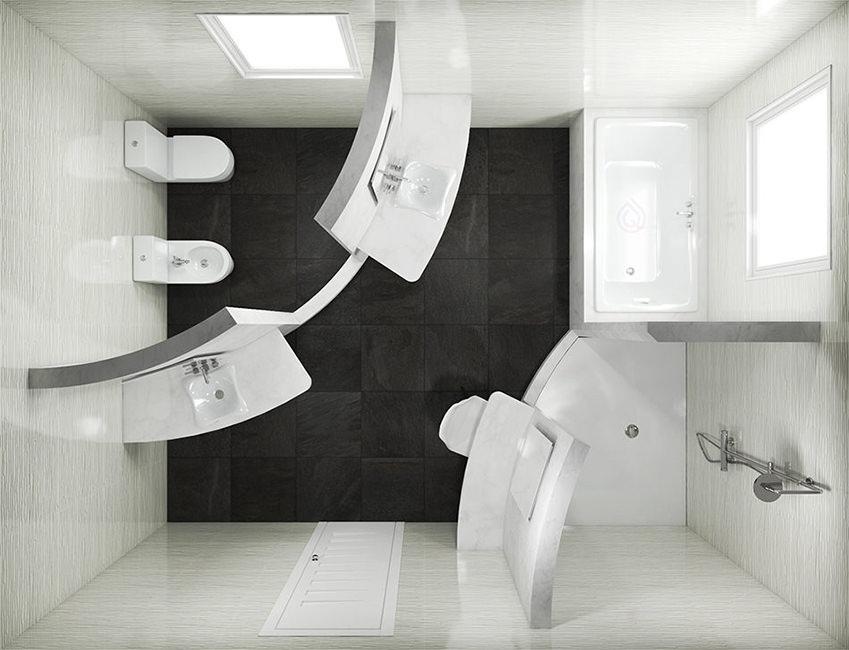 Rectangle Bathroom Layout