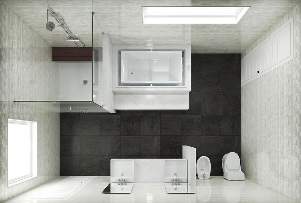 Bathroom Layout with Shower Enclosure and Bath Tub