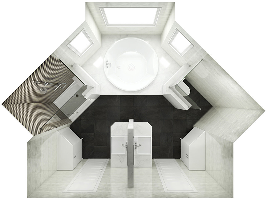 Large Bathroom Layout with Round Bath, Shower Enclosure, Storage Units and more.