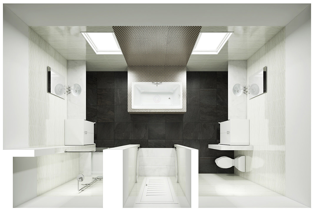 Large Bathroom Layout with Two Basin, Storage Unit, Toilet and Shower Enclosure