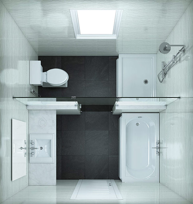 Square Small Bathroom Layout