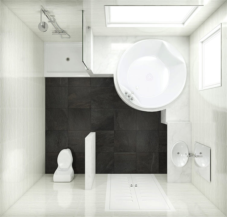 Square Bathroom Layout with Round Bath and Shower cubicle