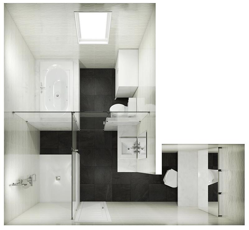 L-Shape Bathroom Layout