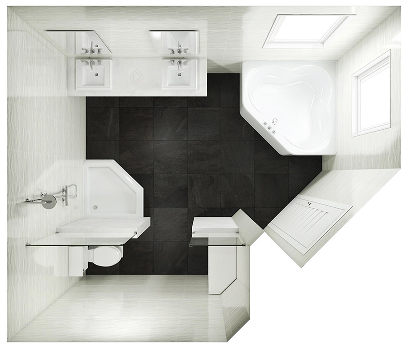Corner Bathroom Layout