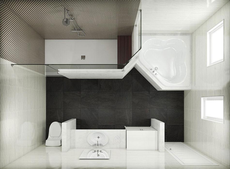 Large Bathroom Layout with Extra Large Shower Enclosure
