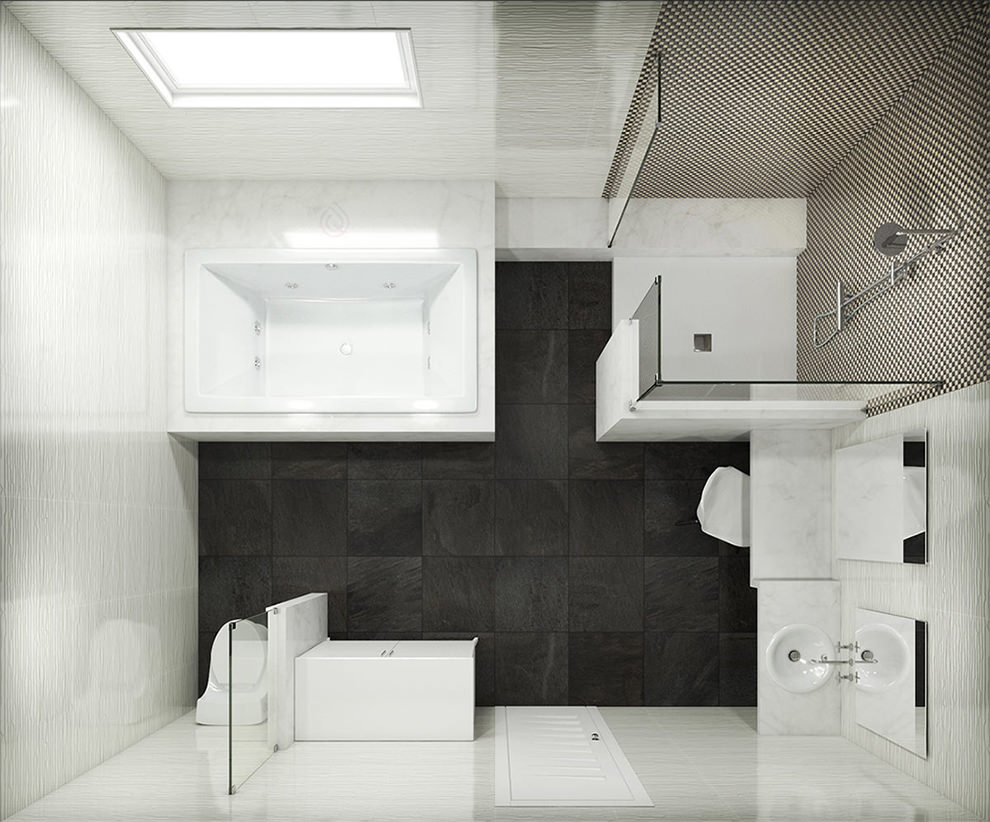 Large Bathroom Layout With Large Shower Enclosure and Large Bath