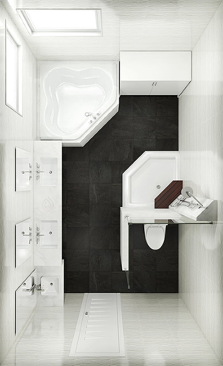 Rectangle Bathroom Layout with Corner Bath