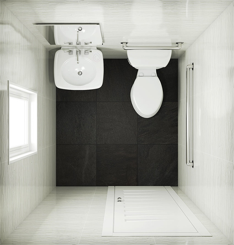 Cloakroom Layout with Close Coupled Toilet and Large Bathroom Sink