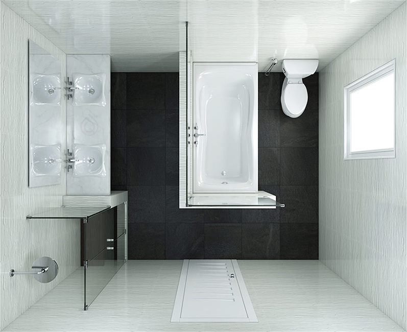 Square Bathroom Layout with Shower Enclosure and Bathtub