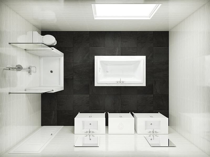 Medium Size Bathroom Layout with Bath in the center