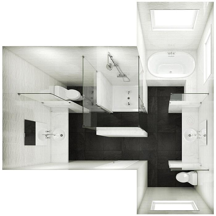 T Shape Bathroom Layout