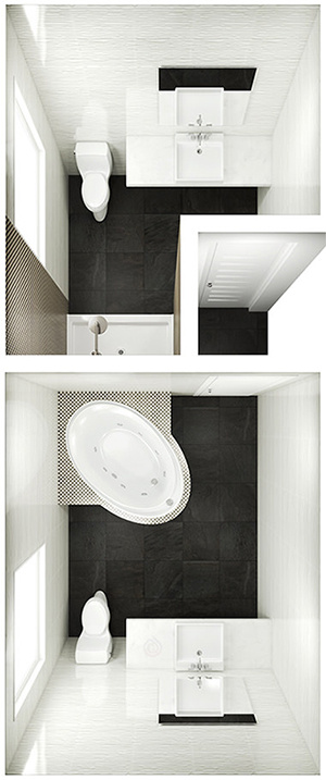 2 Bathroom Layout Side By Side