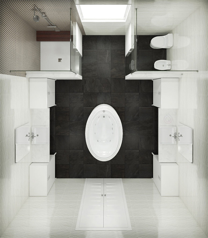 Large Bathroom Layout with Bath in the Center and Shower Enclosure