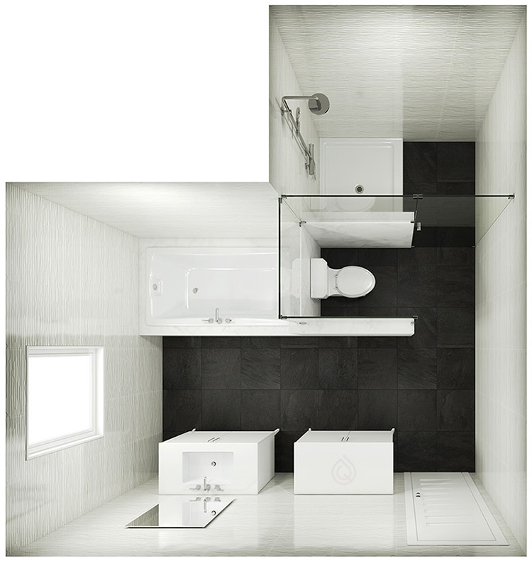 L Shape Bathroom Layout with Bath and Shower Enclosure