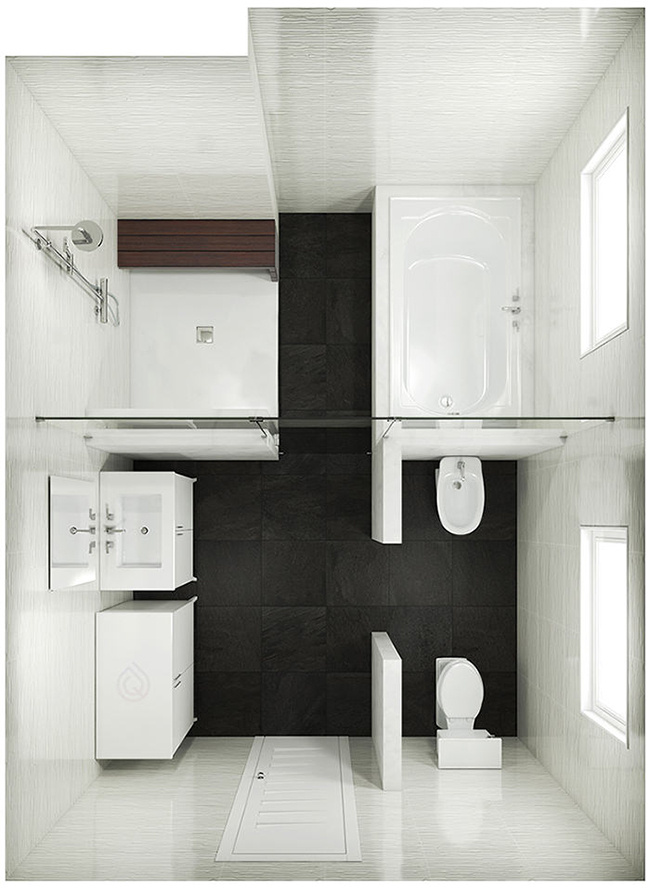 Extra Large Bathroom Layout with Shower Enclosure, Bath, Large Vanity unit and bathroom storage unit.