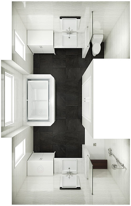 U Shape Bathroom Layout with Large Bath in the Center