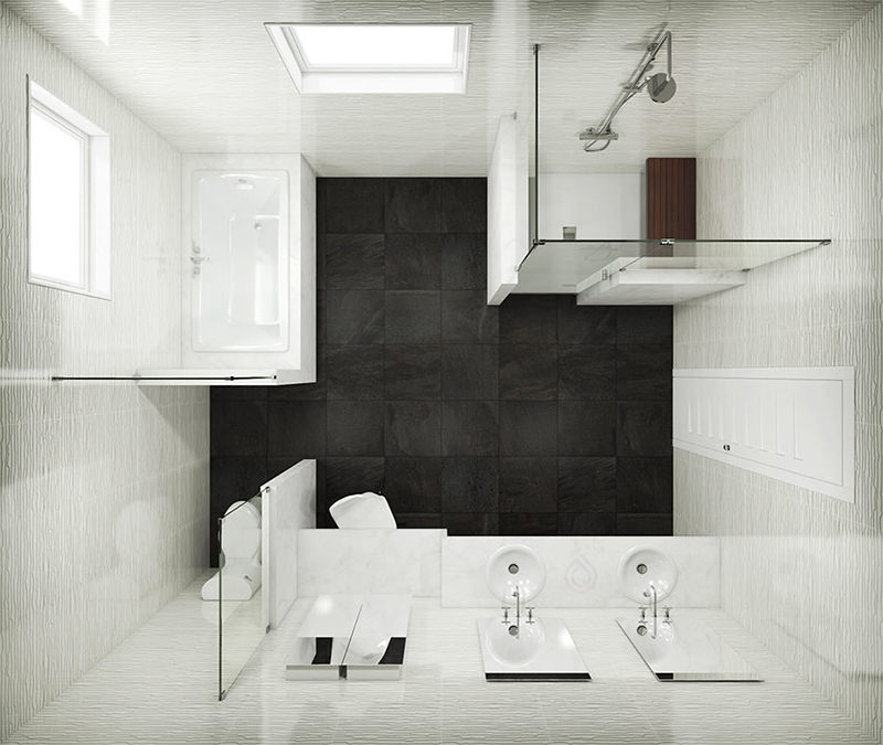 Large Bathroom Layout with Bathtub, Shower Enclosure, Two Bathroom Sink and Toilet