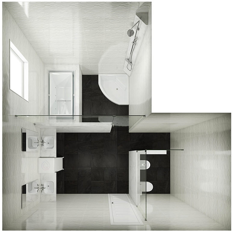L Shape Bathroom Layout with Bath and Corner Shower Cubicles