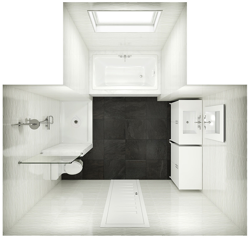 T Shape Bathroom Layout with Bath, Walk in Shower, Bathroom Vanity, Toilet and Storage Unit