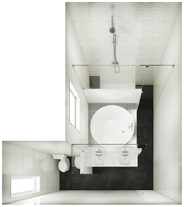 L Shape Bathroom Layout with Large Round Bathtub, walk in shower enclosure, toilet and bathroom sink